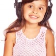 Girl in big ear-phones — Foto Stock