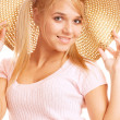 Girl wearing straw-hat portrait — Stock Photo #2871838