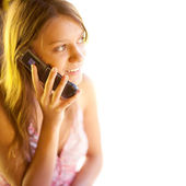 Young pretty woman on phone — Stock Photo