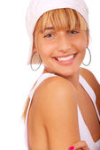 Young beauty woman wearing baseball cap — Stock Photo