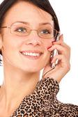 Beautiful girl speaks on phone — Stock Photo