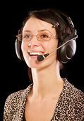 Mujer-operador con auriculares — Foto de Stock