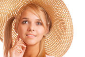 Girl wearing straw-hat portrait — Stock Photo
