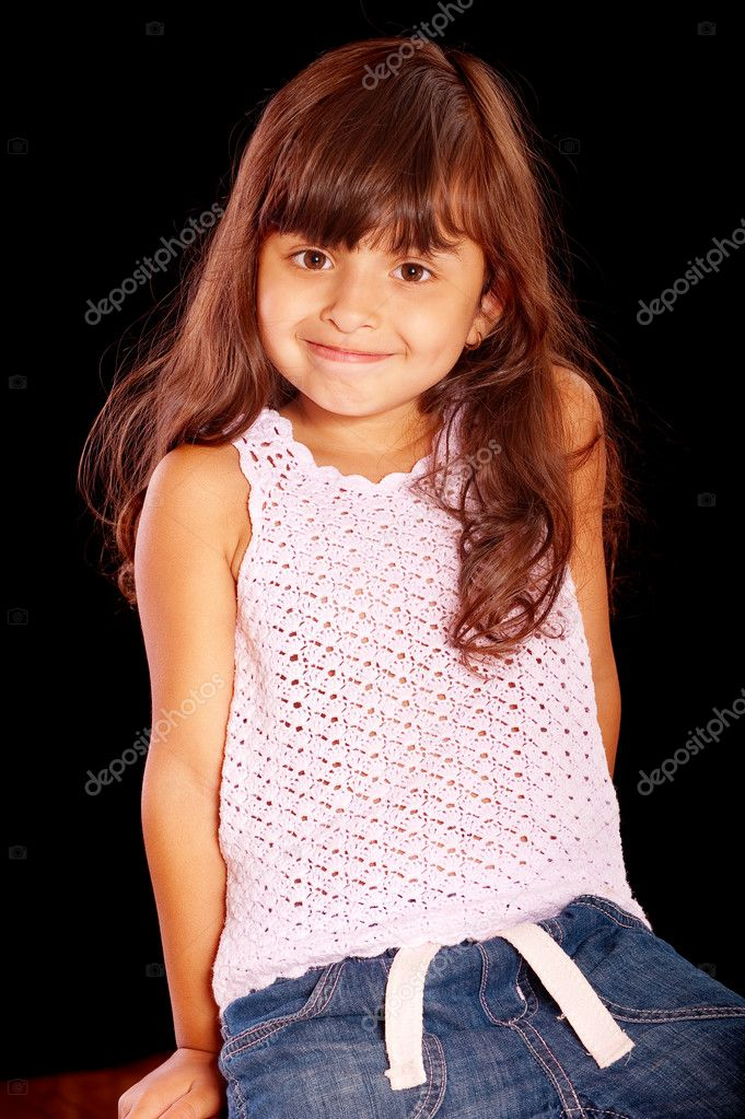 Pretty little girl, isolated on black background. — Stock Photo #2871670