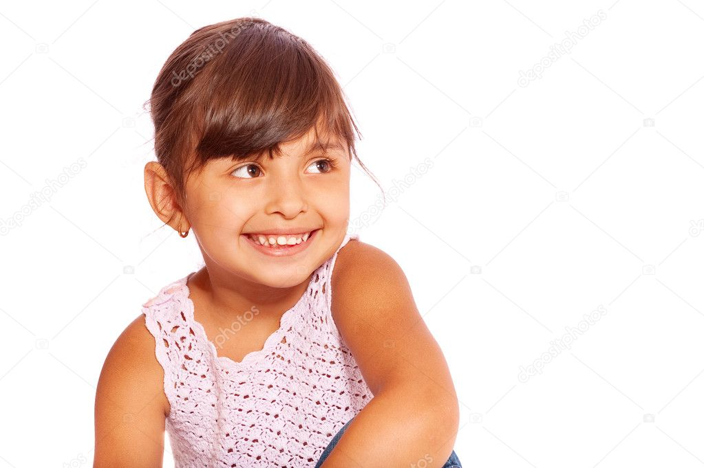 Pretty little girl, isolated on white background. — Foto Stock #2871674