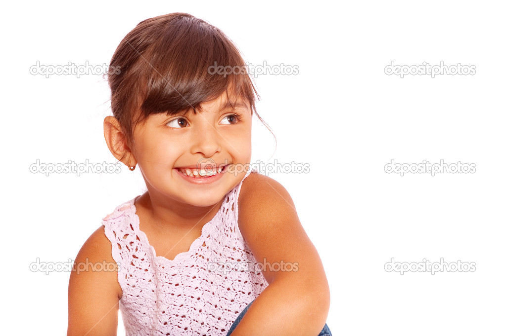 Pretty little girl, isolated on white background. — Photo #2871674