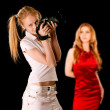 Stock Photo: Girl-photographer and model