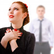 Woman and young man out of focus — Stock Photo