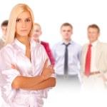 Business woman portrait leading team — Stock Photo