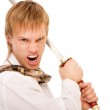Man with sword protects business — Stock Photo #3246995