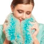 Beautiful girl in warm fur coat with fur — Stock Photo #3247148