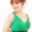 Nice young woman in green dress — Stock Photo