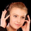 Headphones woman — Stock Photo