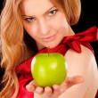 Closeup portrait of girl with green apple — Stock Photo