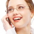Charming business woman speaks on phone — Stock Photo