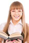 Businesswoman reading book — Stock Photo