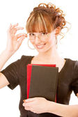 Beautiful girl-student with textbooks — Stock Photo