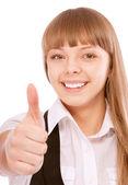 Affärskvinna som ger tummen upp — Stockfoto