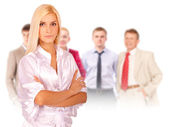 Business woman portrait leading team — Stock Photo
