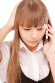 Businessgirl is dissatisfied with phone conversa — Stock Photo