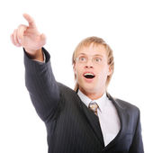 Businessman shows forefinger and is surprised — Stock Photo