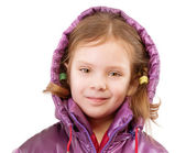 Little girl in coat with hood — Stock Photo
