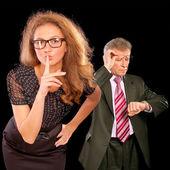 Affärsman och dess sekreterare — Stockfoto