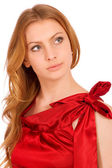 Beautiful model in red dress — Stock Photo