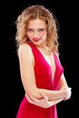 Charmante femme en robe de soirée rouge — Photo