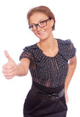 Business woman lifts upwards forefinger — Stock Photo