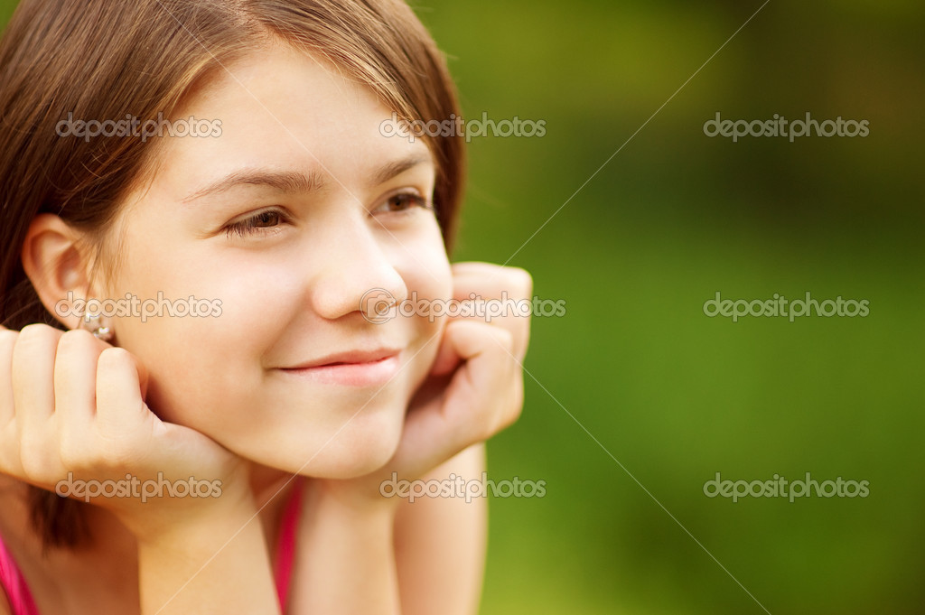 Closeup portrait of charming young female smiling, isolated on white background. — Stock Photo #3245357