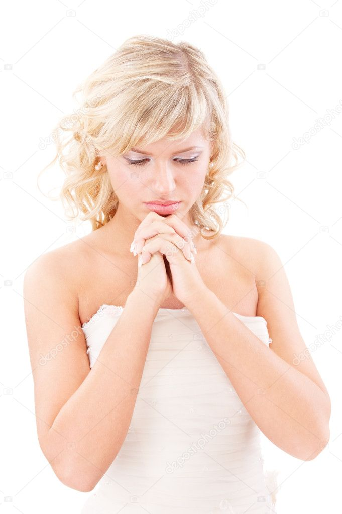 Sad bride looks downwards, isolated on white background. — Stock Photo #3245503