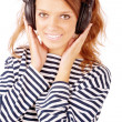 Portrait of beautiful girl with ear-phones — Stock Photo #3762492