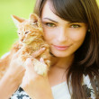 Beautiful girl with kitten — Stock Photo #3762678