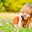 Girl speaks on phone — Foto de Stock