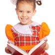 Girl with bows reads book — Stock Photo #3762910