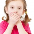 Small girl closes mouth hands — Stock Photo #3762929