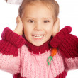 Portrait of little girl in sweater — Stock Photo