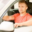 Driver of car looks — Stock Photo