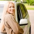 Stock Photo: Driver-woman of car smiles