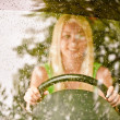 Driver-woman of car at wheel — Stock Photo