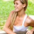 Girl sits on bench — Stock Photo #3763695