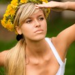 Young woman in wreath — Stock Photo