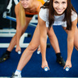 Girls with dumbbells - Stock Photo