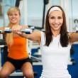 Girls with dumbbells — Stok fotoğraf
