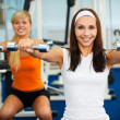 Girls with dumbbells — Stock Photo