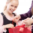 Young girl opens bag — Foto Stock