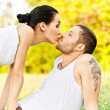 Young beautiful pair kisses — Stock Photo #3764824