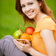 Girl with basket apples — Stock Photo
