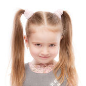 Portrait of beautiful preschool child with ponytail — Stock Photo